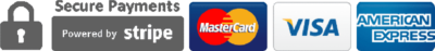 Powered by Stripe - secure Visa, Mastercard and Amex payments